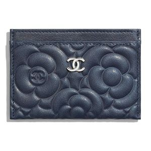 CHANEL Lambskin Camellia Card Holder Black